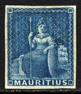 MAURITIUS 1858 Seated Britannia Blue No Value IMPERFORATE SG 31 MINT