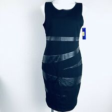 PETER NYGARD Black Faux Leather Women Dress. Size 10. New With Tags