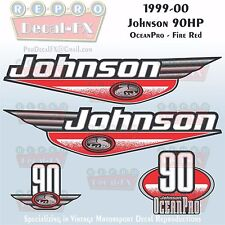 1999-00 Johnson 90 HP OceanPro Fire Red Outboard Repro 4 Pc Marine Vinyl Decal