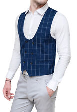 Vest Waistcoat Man Sartorial Blue Check Double-Breasted Casual Elegant Ceremony