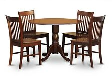5PC DINETTE KITCHEN DINING SET ROUND TABLE with 4 WOOD SEAT CHAIRS IN MAHOGANY