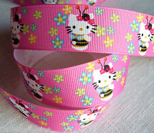 RUBAN GROS GRAIN CHAT KITTY ABEILLE Coccinelle Rose Fleur liberty  25 mm / mètre