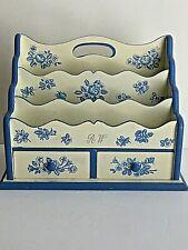 Floral Decorated Desktop Mail Holder Storage Blue Cream 2 Drawers RW initials