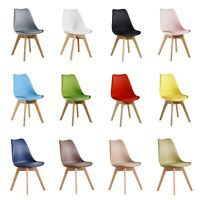 Jamie Lorenzo Tulip Dining Chair Padded Seat Eiffel Wood Legs Retro Modern Home