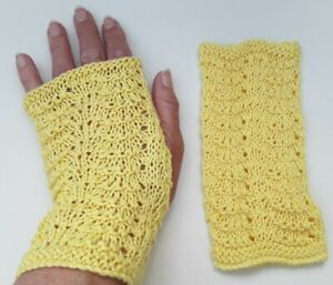 fingerless gloves ladies hand knitted New 100% cotton yellow lace knit wedding