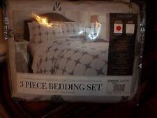 New Ashley Furniture Cyrun Gray White Queen Duvet Cover Set 3pc