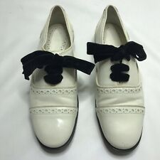 Tory Burch Haverford Oxford Shoes Ivory White Leather Women's 7