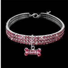 Dog Collar Rhinestone Crystal Cat Pet Pets Puppy Bling Collars Leather Diamond