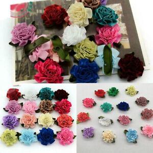 50/100pcs Satin Ribbon Carnation Flower Craft Appliques Wedding Decoration 3CM