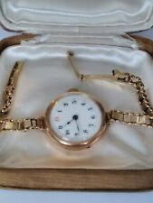 LOVELY ANTIQUE 9CT ROSE GOLD LADIES WATCH & GOLD STRAP. WORKING