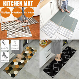 Kitchen Non-Slip Mat Home Floor Carpet Rug Waterproof Anti-Oil PVC Door Mats