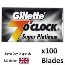 100 GILLETTE 7oClock SMOOTH SUPER PLATINUM DE DOUBLE EDGE RAZOR SHAVING BLADES