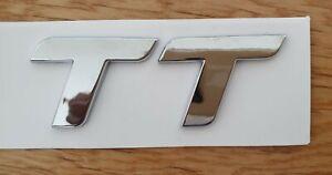 3D Quality TT ABS Chrome Lettering Car Styling Rear Emblem Badge Logo - Silver