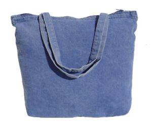 12 Wholesale Bulk Zippered Denim Tote Bags - Free Shipping