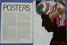 POSTERS       1967 Magazine Article        Dylan, Milton Glaser, Tom Daly & More