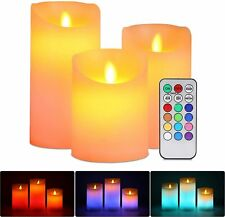 LED Flickering Flameless Candles With Color Changing Remote Control Timer 3 Wax