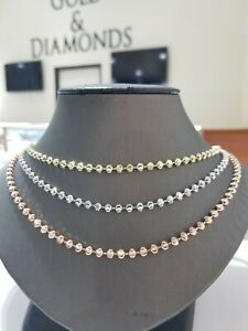 """Real 10k yellow/White/Rose Gold Chain Necklace Moon Cuts 22"""" Inch 4 mm Beads"""
