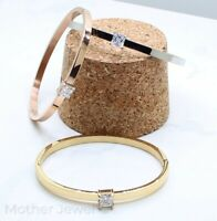 SQUARE 6MM SIMULATED DIAMOND OVAL HINGE SILVER 14K ROSE YELLOW GOLD IP BANGLE