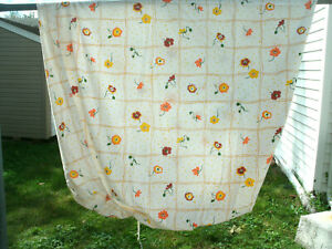 MONTICELLO FLORAL SHEET-- Orange/brown/rust--Twin/Fitted Size--Cutter