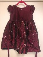 Sweet Heart Rose Girls Party Dress Size 6 Cranberry with Embrodiered Flowers