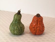 Vintage Russ Berrie Plus Handpainted Wax Candle Gourds Fall Autumn Thanksgiving