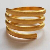 Gold Wickelring Spiral Damen Ring - 925 Sterling Silber - vergoldet diamantiert
