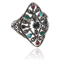 Vintage Woman Style Silver plated Inlaid Black Stone Crystal Female Ring Size 10