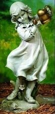 """22"""" GIRL W/ WATERING CAN GARDEN STATUE, STONE FINISH,  NEW"""