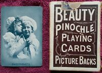 Antique 1907 Kalamazoo Pinochle Playing Cards Sweethearts Pictorial Back, Set 48