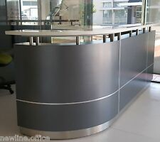 Executive Reception Counter Reception Desk J Shape Metallic Grey Furniture