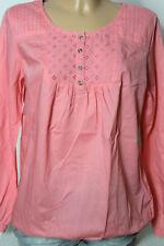 Bluse Gr. 38-40 rosa Baumwolle Langarm Hüft Bluse mit Lochstickerei