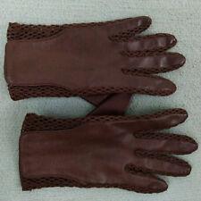 Vtg Grandoe A British Crown Hk Brown Vinyl Mesh / Knit Women's Gloves Sz 7