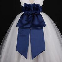 Navy Blue Sash Wedding Flower Girl Bridesmaids Dress Bow 12M 18M 2 4 6 8 10 12