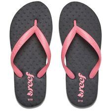 Reef Toddler Girl's 7/8 Little Charkas Flip Flops Sandals Black Pink NWT