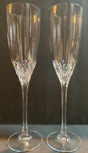 Pair of Crystal Champagne Glasses Wedding Toast Celebration 9""