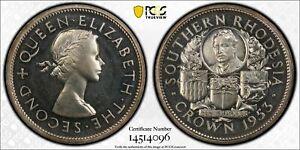 British Rhodesia, 1953 Elizabeth II Crown. PCGS PR 64. 1,500 Mintage.