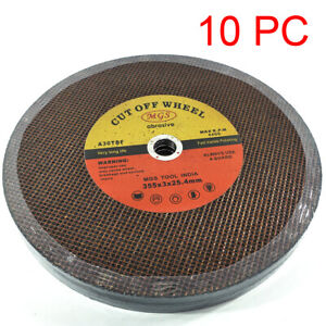 "10pc 355mm 14"" Cutting Disc Wheel Metal Cut Off Blade Drop Chop Saw 25.4mm Bore"