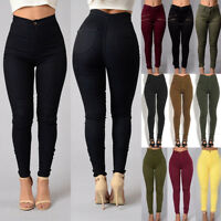 Womens Skinny Pencil Pants High Waisted Stretchy Slim Fit Push Up Jeans Trousers