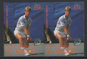 St Vincent Bequia (1957) - 1988 TENNIS PLAYERS 15c IMPERF PAIR unmounted mint