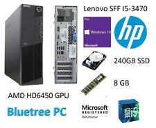 Lenovo SFF Quad Core I5-3470 8GB RAM 240GB SSD HD 6450 Win10 Desktop Computer PC