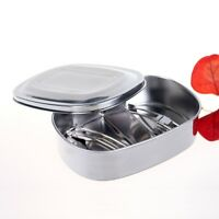 PMLAND Quality Stainless Steel Lunch Box with Fork and Spoon Set(2 Compartments)