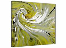 Lime Green Swirls Modern Abstract Canvas Wall Art - 64cm Square - 1s351m