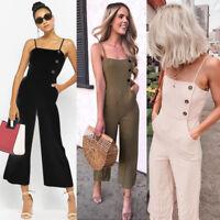 Women's Summer Jumpsuit Clubwear Romper Bodysuit Wide Leg Pants Trousers Pocket