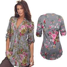 Women Vintage Floral Print V-neck Tunic Shirt Tops Blouse Plus Size S-6XL Tops