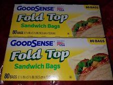 160 Good Sense Fold Top Sandwich Bags 6 1/2 in x 5 1/2 in Made USA (2 packs 80)