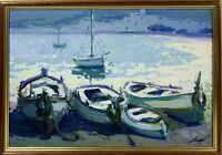 B1-066. BOATS ON THE BEACH. OIL ON CANVAS. UNKNOWN SIGNATURE. SPAIN. CIRCA 1950.