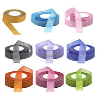 22 Metres 25mm Double Sided Satin Glitter Ribbons Bling Bows Reels Wedding O9K4