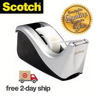 Scotch Desktop Tape Dispenser Silvertech Two-Tone (C60-ST) 1 PACK Blades Weighte