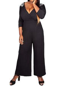 Ex EVANS Scarlett & Jo BLACK Embellished Shoulder Wrap Jumpsuit 22 24 26 30