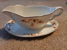 """Vintage Jewel Tea Autumn Leaf Superior Hall 9"""" Gravy Boat & Under Plate"""